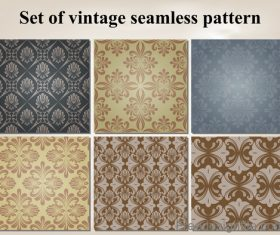 Set of vintage seamless pattern vectors 01