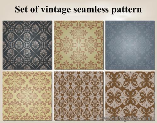 Set of vintage seamless pattern vectors 01