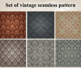 Set of vintage seamless pattern vectors 02