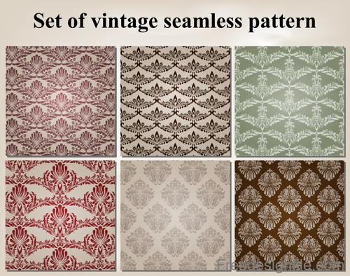 Set of vintage seamless pattern vectors 04