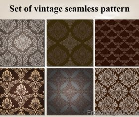 Set of vintage seamless pattern vectors 05