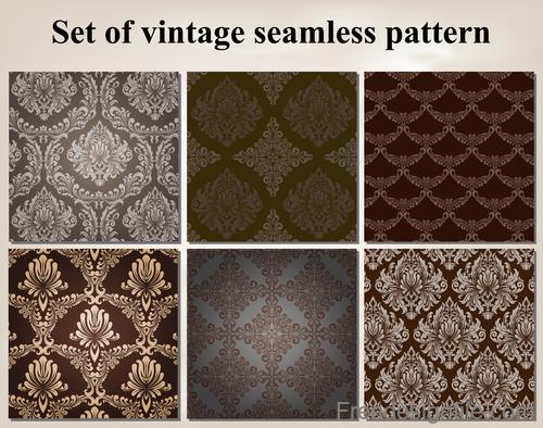 Set of vintage seamless pattern vectors 05