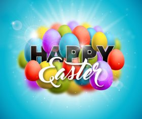 Shiny easter background with colored egg vector