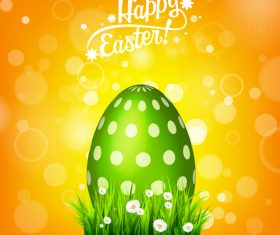Shiny easter background with egg and spring flower vector