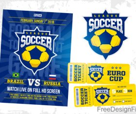 Soccer game ticket and flyer template vector 01