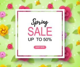 Spring flower pattern with sale design vector