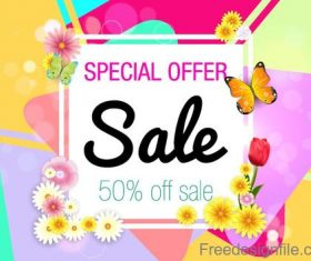 Spring flower with sale special offer design vector