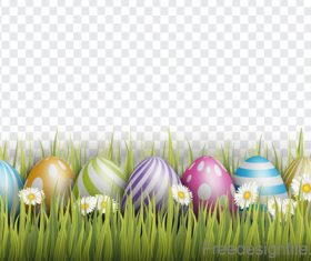 Spring grass with easter egg illustration vector 01