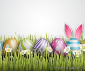Spring grass with easter egg illustration vector 02