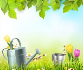 Spring outside background design vector