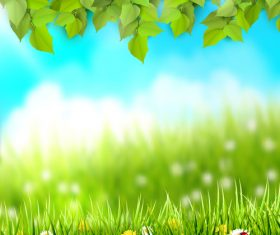 Spring outside background with green leaves and grass vector 01
