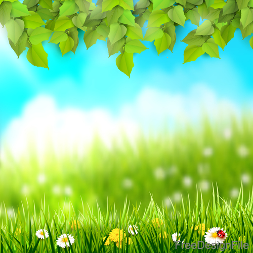 spring outside background with green leaves and grass vector 01 free download green leaves and grass vector 01