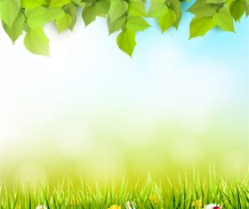 Spring outside background with green leaves and grass vector 02
