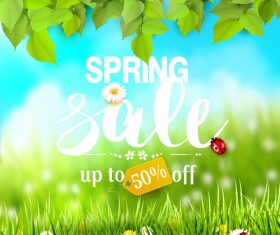 Spring outside background with sale vector