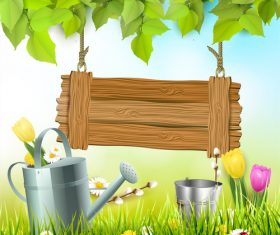 Spring outside background with sign design vector 01