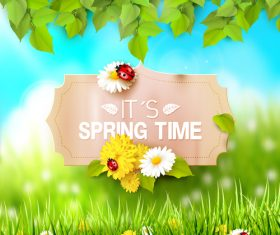 Spring outside background with sign design vector 02