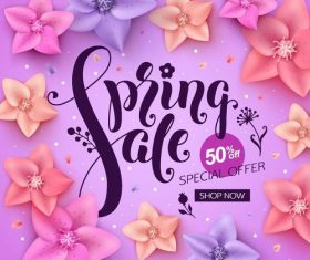 Spring sale background creative design vector 01