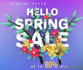 Spring sale background creative design vector 02