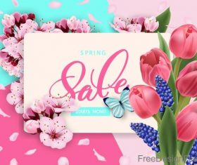 Spring sale background creative design vector 03