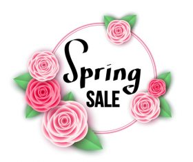 Spring sale design with flower frame vectors 01