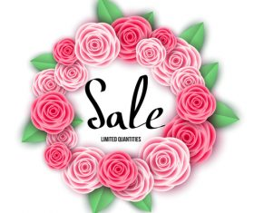 Spring sale design with flower frame vectors 03
