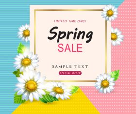 Spring sale design with white flower vectors 01
