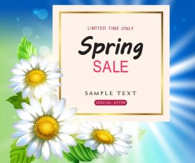 Spring sale design with white flower vectors 02