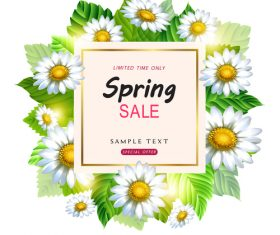 Spring sale design with white flower vectors 03