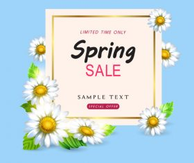 Spring sale design with white flower vectors 04