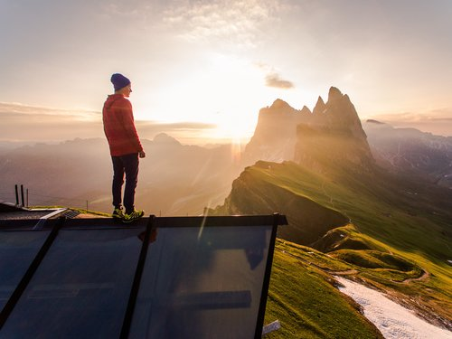 Standing on the top of the mountain watching the sunset nature landscape Stock Photo