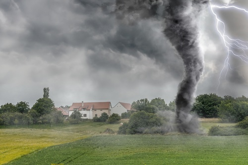 Stock Photo Tornado that raided farmland trees