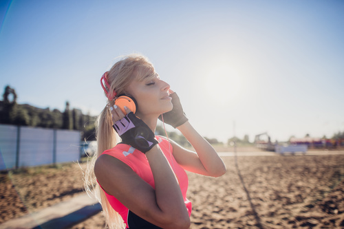 Stock Photo Woman enjoying music