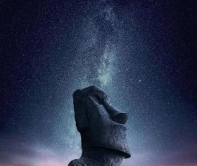 Stone statue and starry sky Stock Photo
