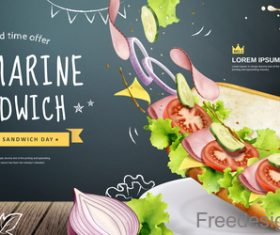 Submarine sandwich poster template vector