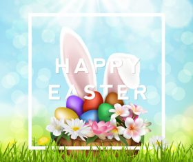 Sunlight with easter card design vector