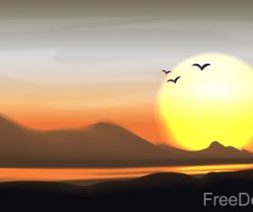 Sunset landscape with birds vector