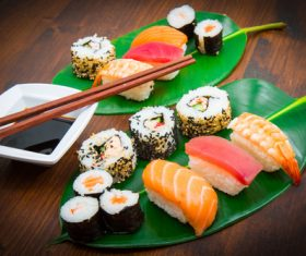 Sushi and soy sauce on lotus leaf Stock Photo 01
