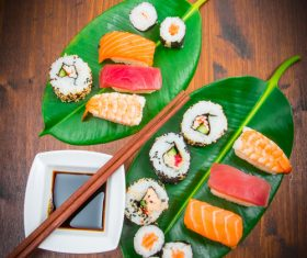 Sushi and soy sauce on lotus leaf Stock Photo 02
