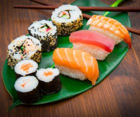 Sushi on lotus leaf Stock Photo