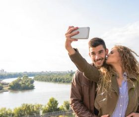 Sweet couple mobile phone selfie Stock Photo