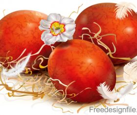 Three red eggs are decorated with straw vector