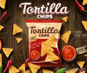 Tortilla chips advertisement poster template vector