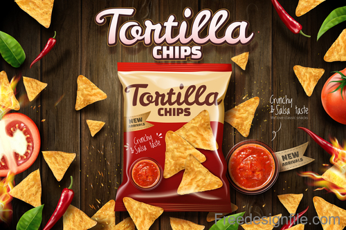 Tortilla chips advertisement poster template vector