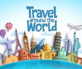 Travel around the world design vector material 01