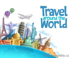 Travel around the world design vector material 02