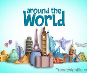 Travel around the world design vector material 03
