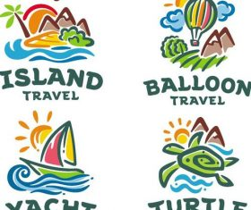Travel logos hand drawn design vector 01