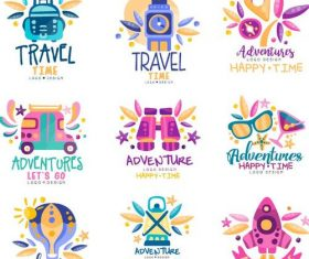 Travel logos hand drawn design vector 02