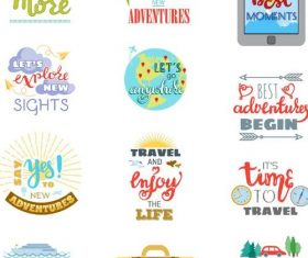 Travel logos hand drawn design vector 03