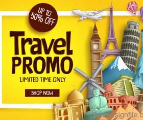 Travel promo sale template vector design